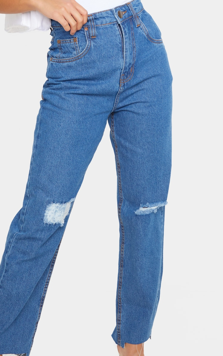 Petite Mid Wash Distressed Knee Stepped Hem Jeans 5