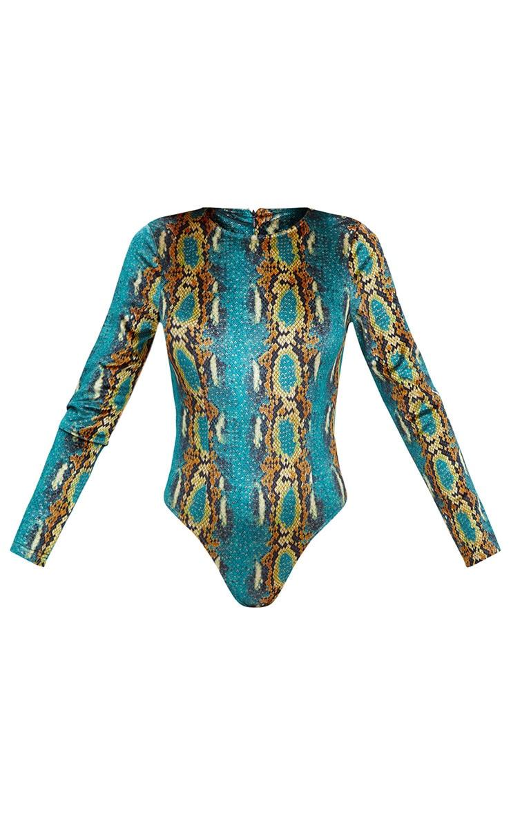 Green Velvet Snake Print Longsleeve Thong Bodysuit 3