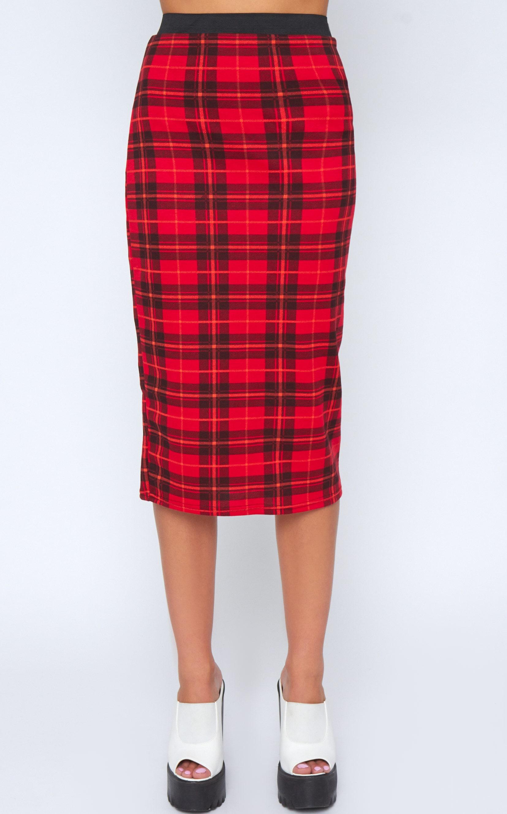 Marsha Red Tartan Midi Skirt -S 4