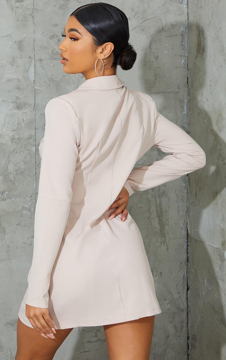 Stone Shoulder Pad Button Blazer Dress 2