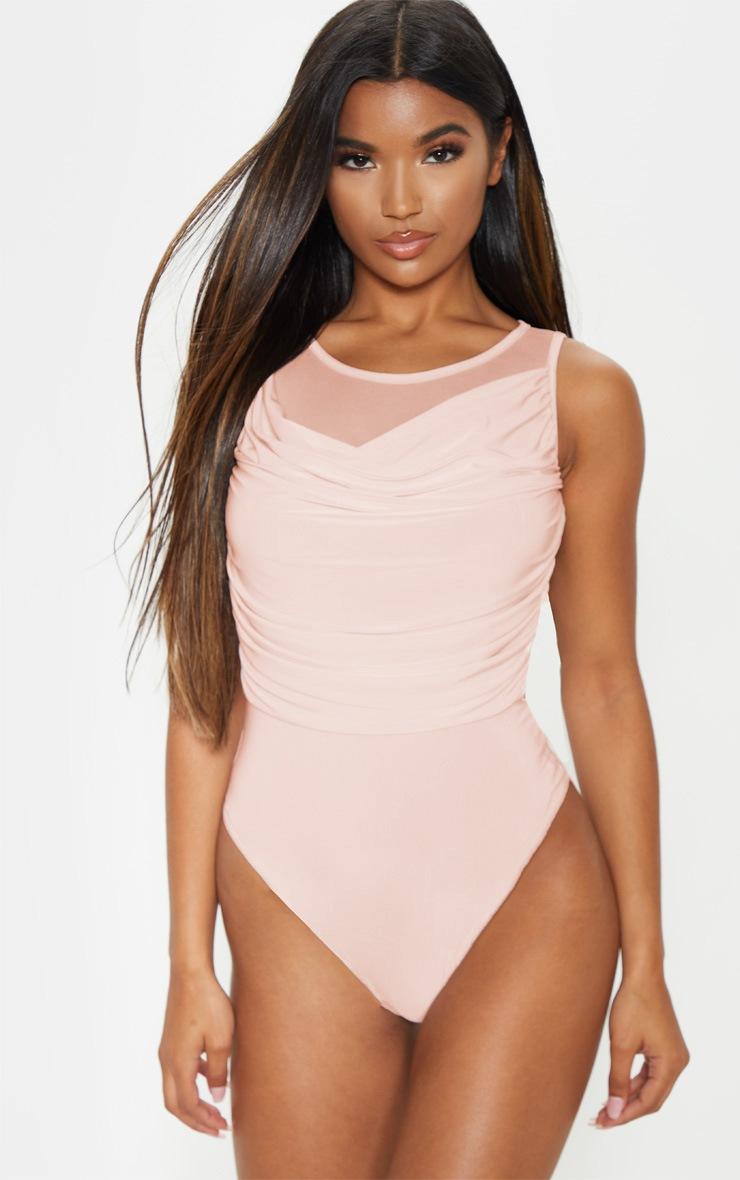 Nude Slinky Cowl Neck Mesh Bodysuit  2