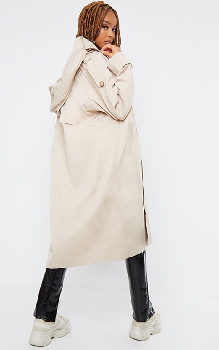 Camel Hooded Zip Through Elastic Waist Mac 2