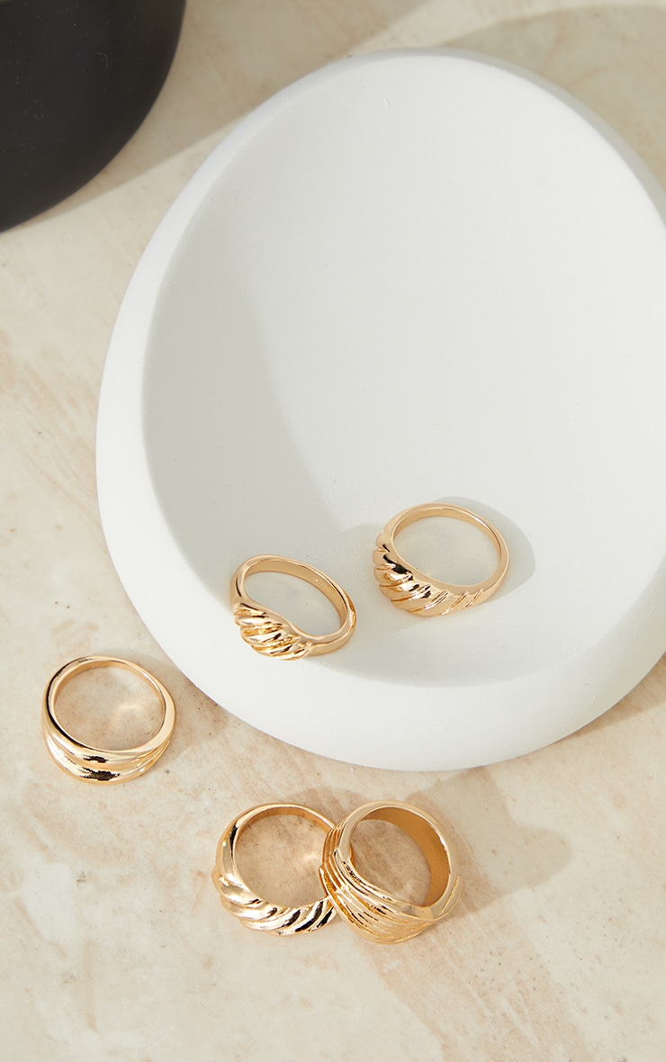 Gold 5 Assorted Chunky Ring Pack 3