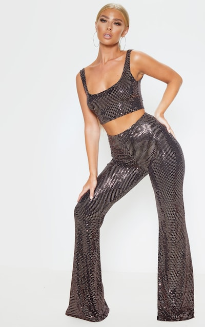 Black Sequin High Waisted Flared Trousers