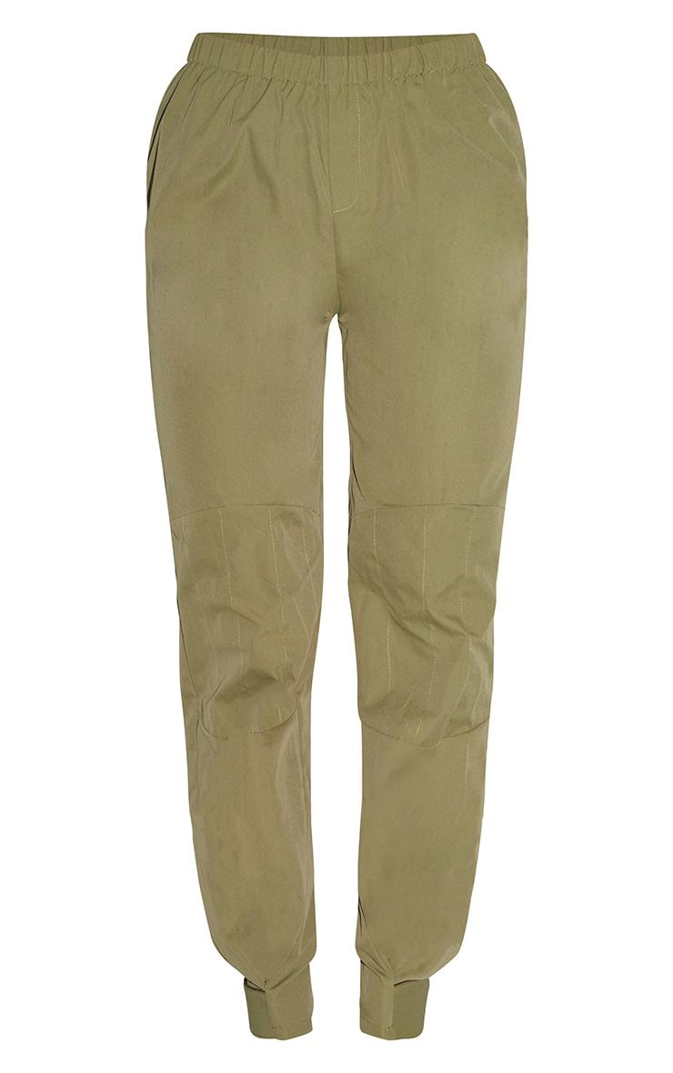 Khaki Woven Button Velcro Ankle Trousers 5