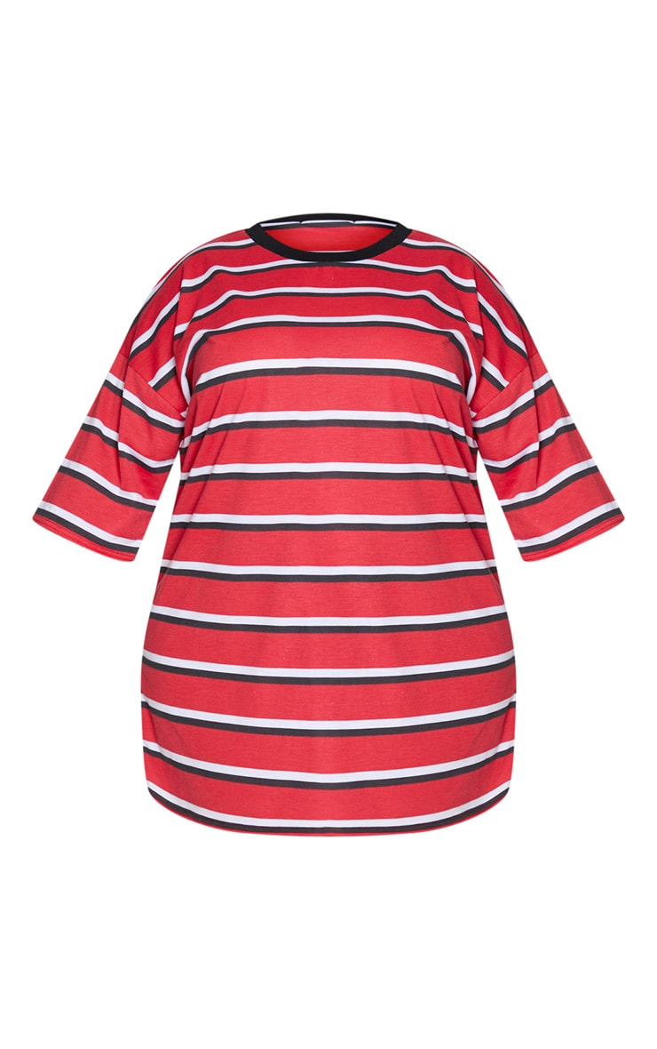 Plus Red Contrast Stripe Oversized Boyfriend T Shirt Dress 5