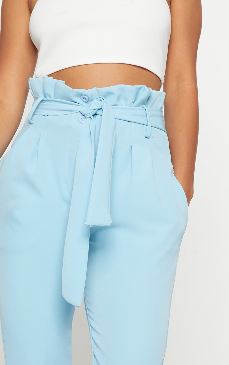Powder Blue Paperbag Waist Trousers 5