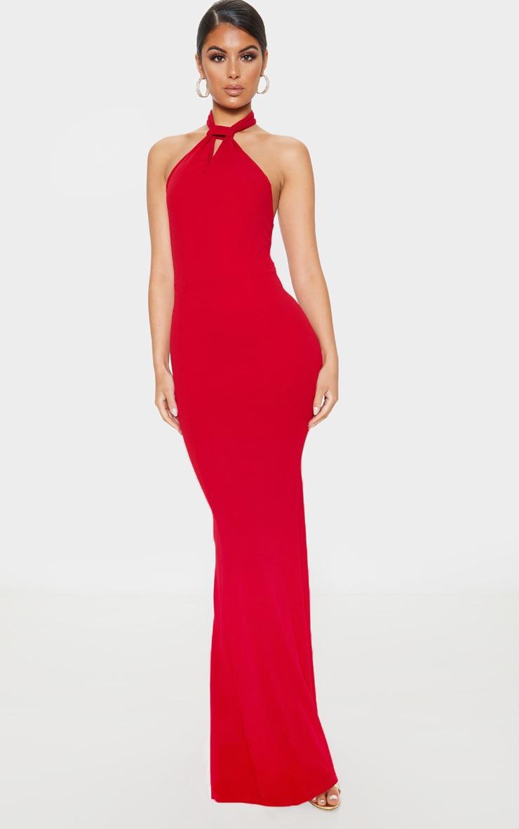 Scarlet Knot Detail Fishtail Maxi Dress 1