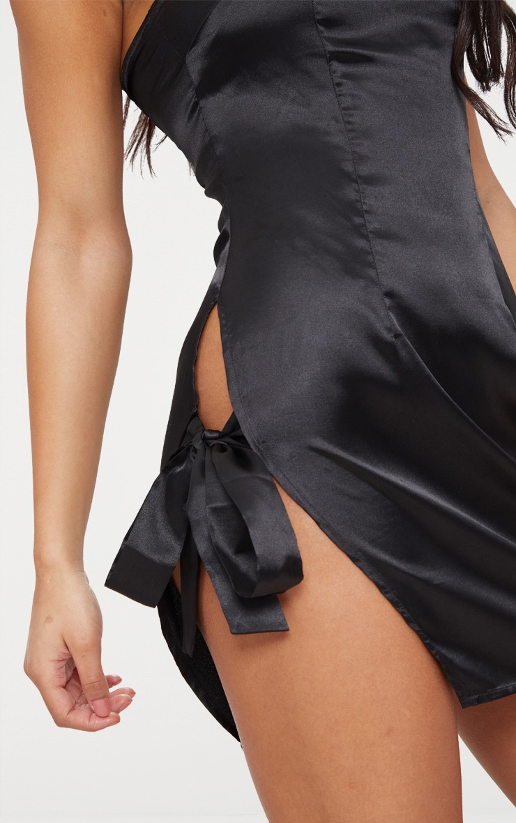 Black Satin Bandeau Extreme Split Bodycon Dress 4