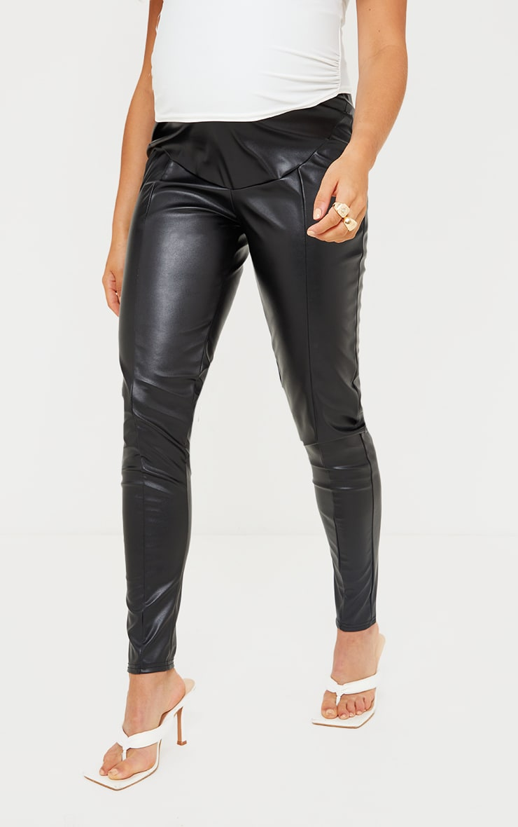 Maternity Black Faux Leather Leggings 2