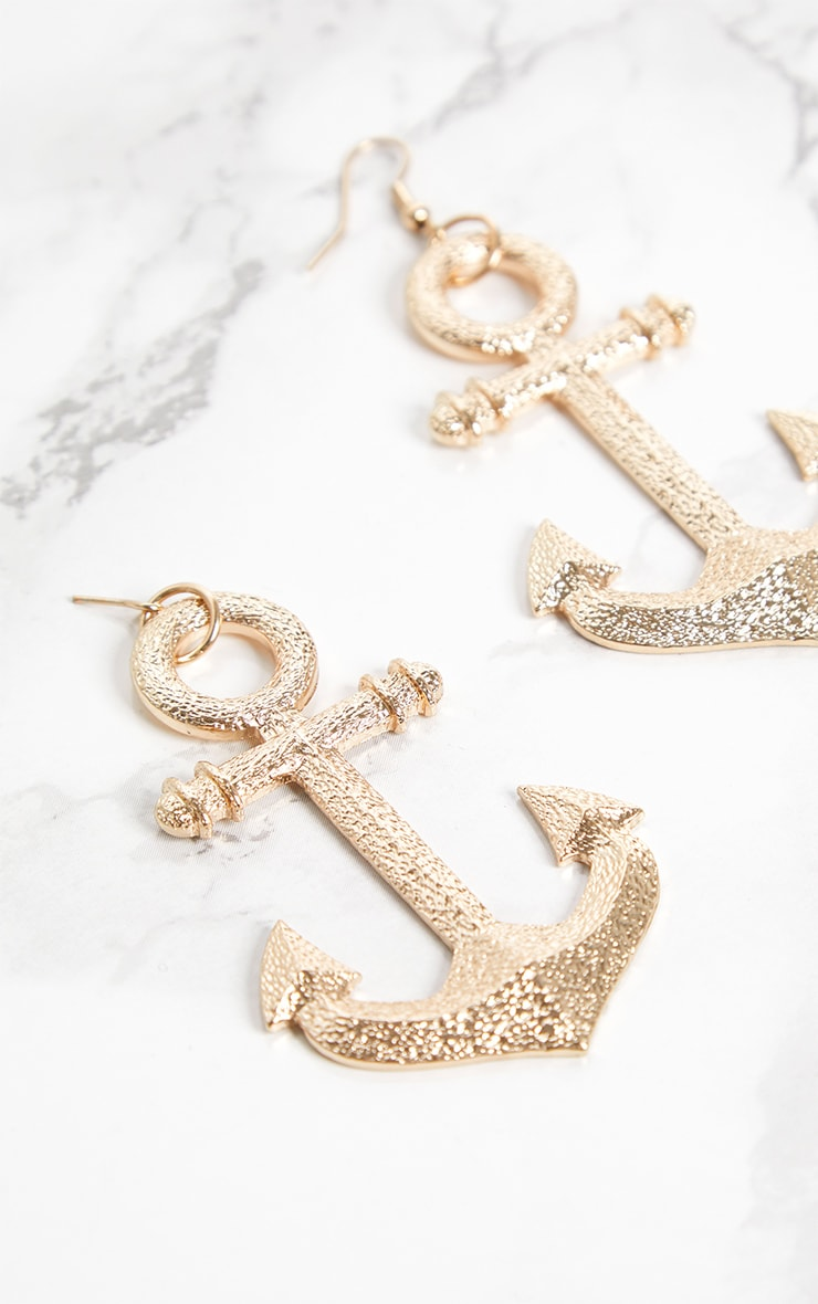 Gold Anchor Nautical Earrings 4