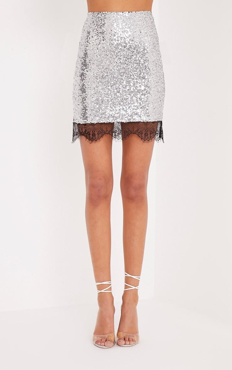Aubriana Silver Sequin Lace Trim Mini Skirt  2