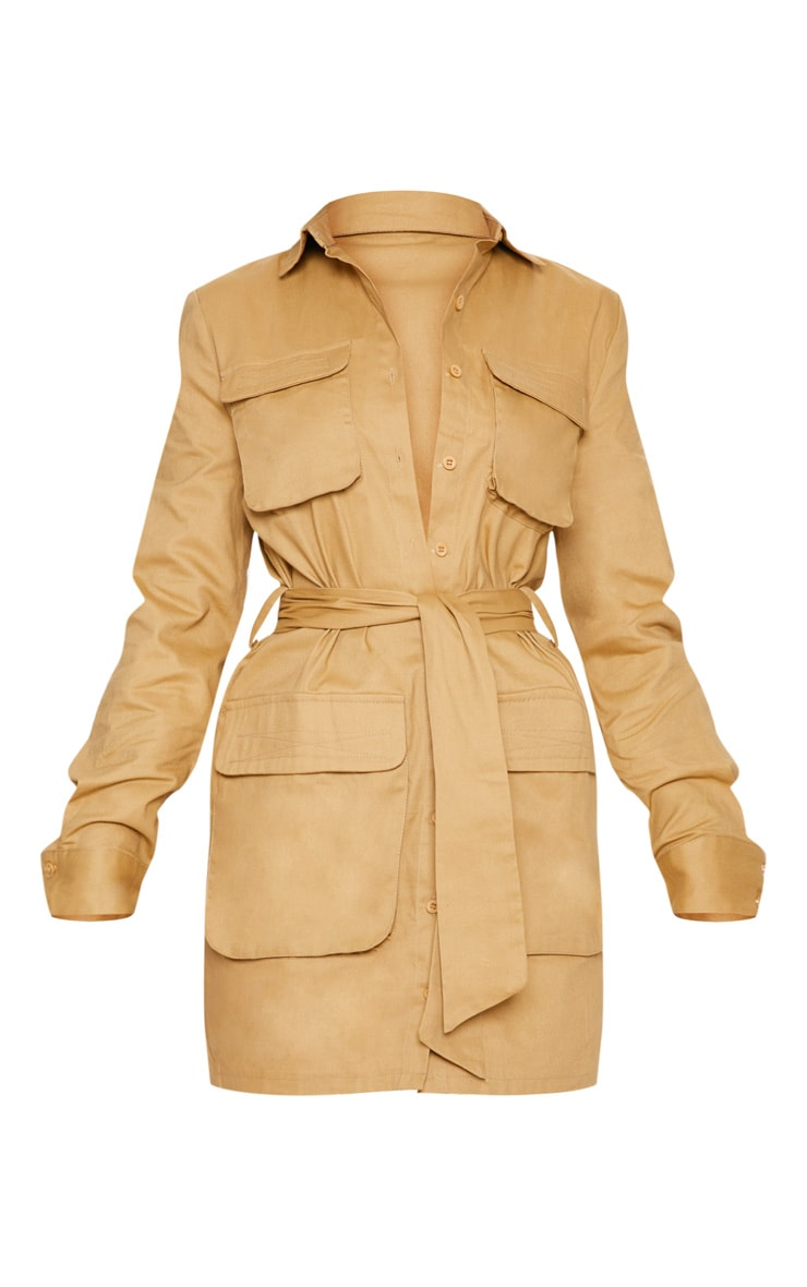 Robe chemise camel nouée à la taille style utilitaire 3