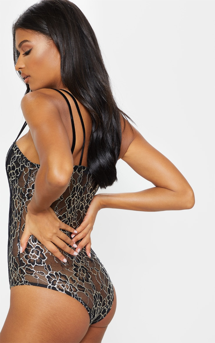 Black Double Strap Embroidered Lace Body  2