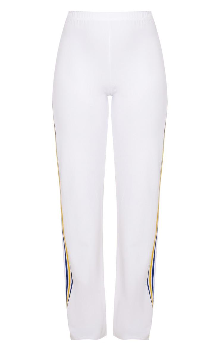 White Scuba Side Stripe Tape Wide Leg Trouser 3