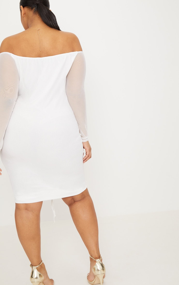 Plus White Mesh Ruched Bardot Midi Dress 2