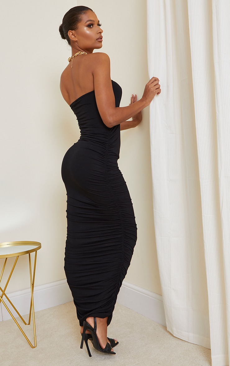 Black Jersey Ruched Bandeau Midaxi Dress 2