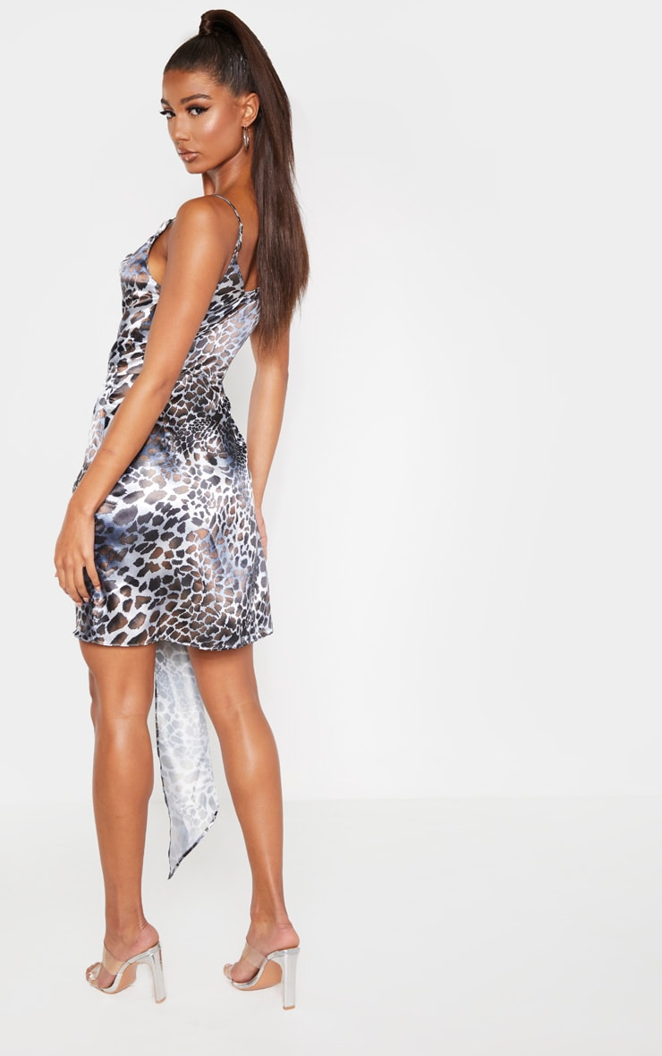 Grey Satin Leopard Cowl Drape Bodycon Dress 2