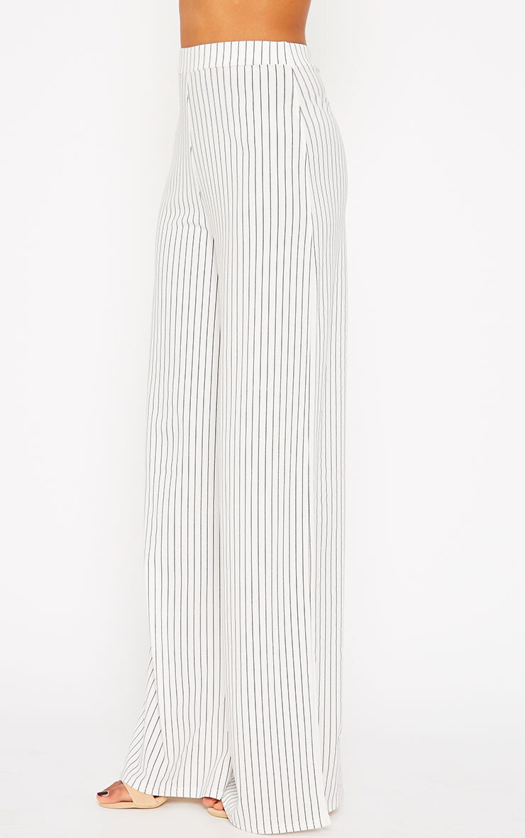 Zafia White Pinstripe Crepe Palazzo Trousers 3