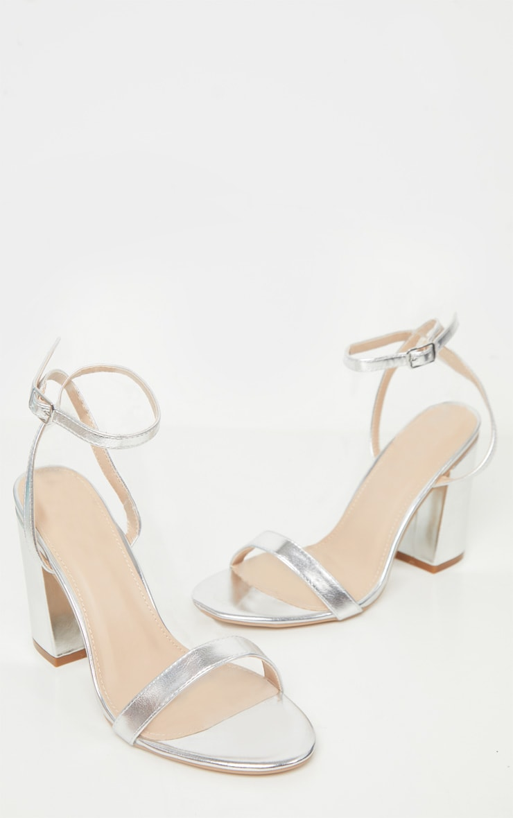 Silver Wide Fit Block Heel Strappy Sandal 3