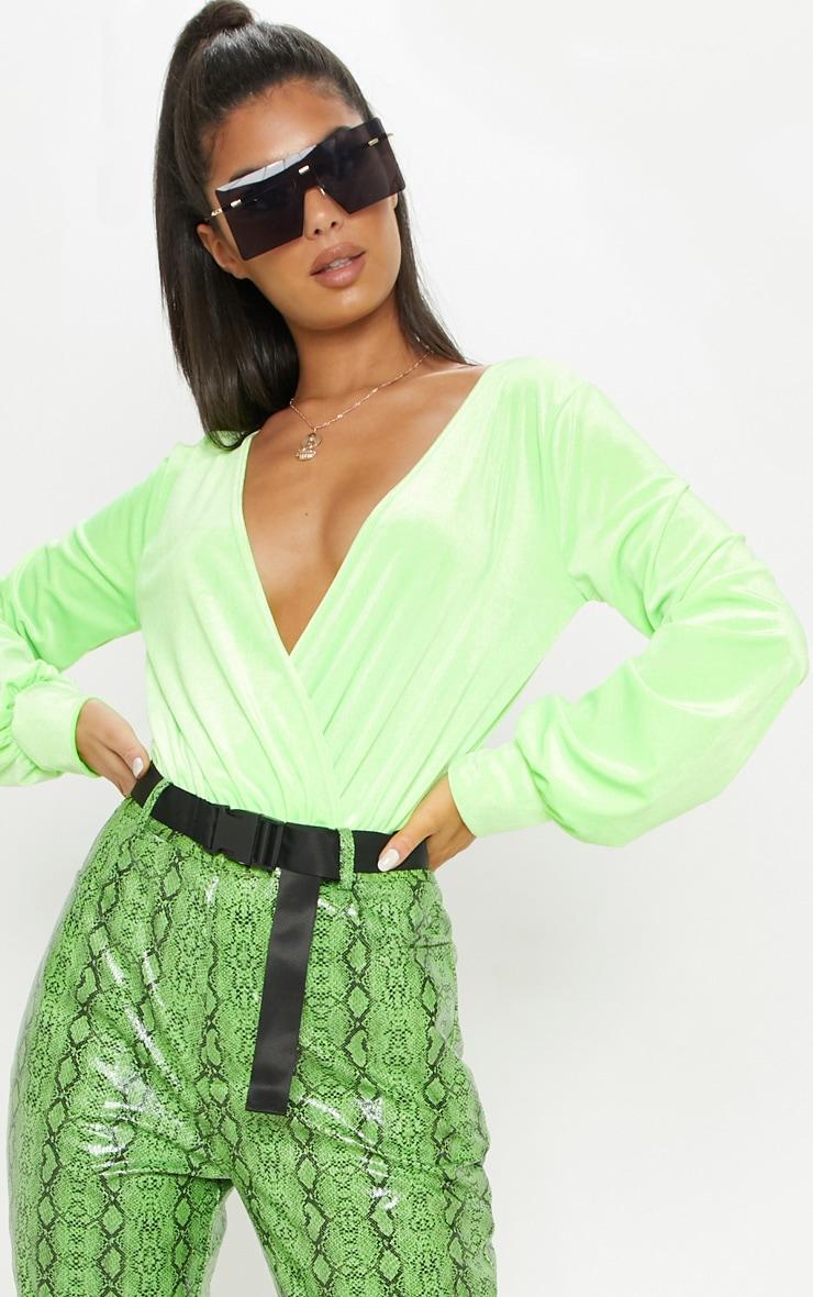 Neon Lime Velvet Plunge Bodysuit 1