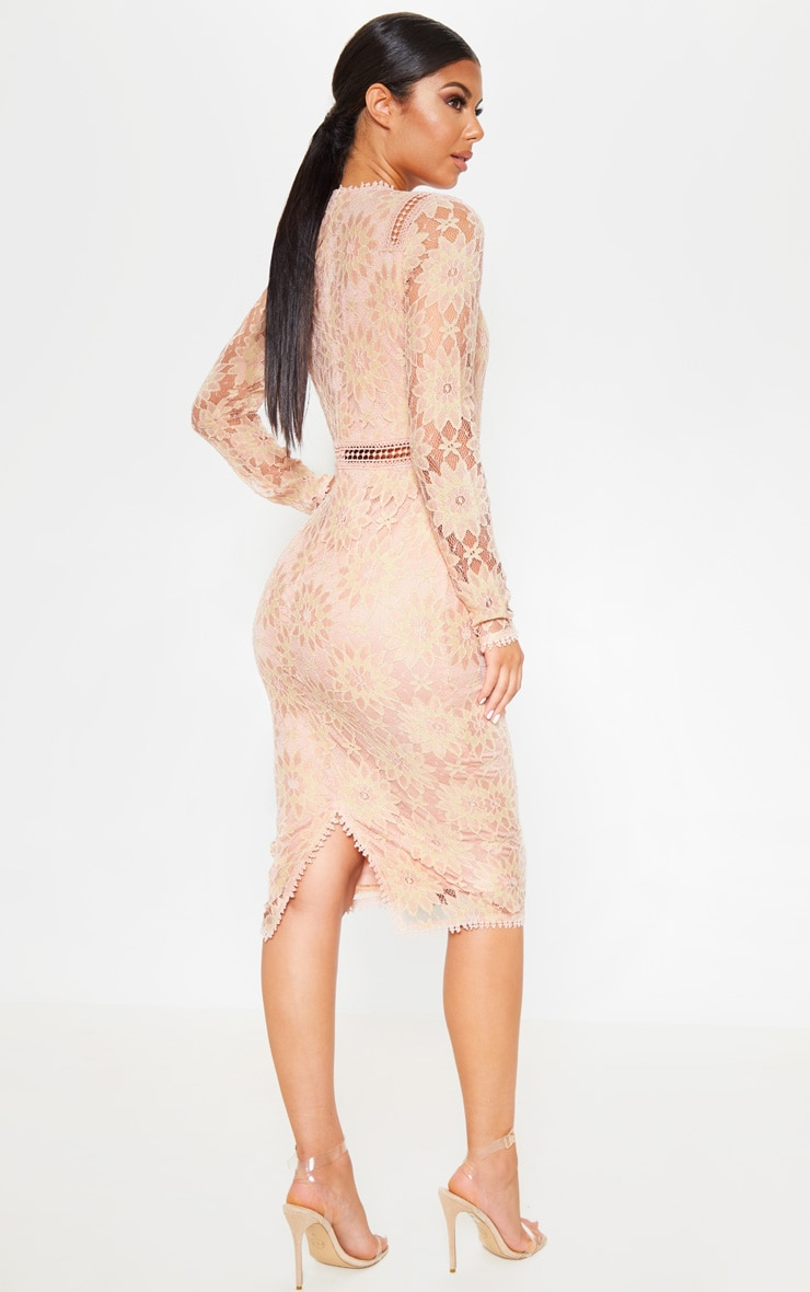 Dusty Pink Long Sleeve Lace Bodycon Dress 1