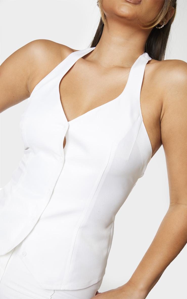 White Woven Button Up Halter Waistcoat Top 4