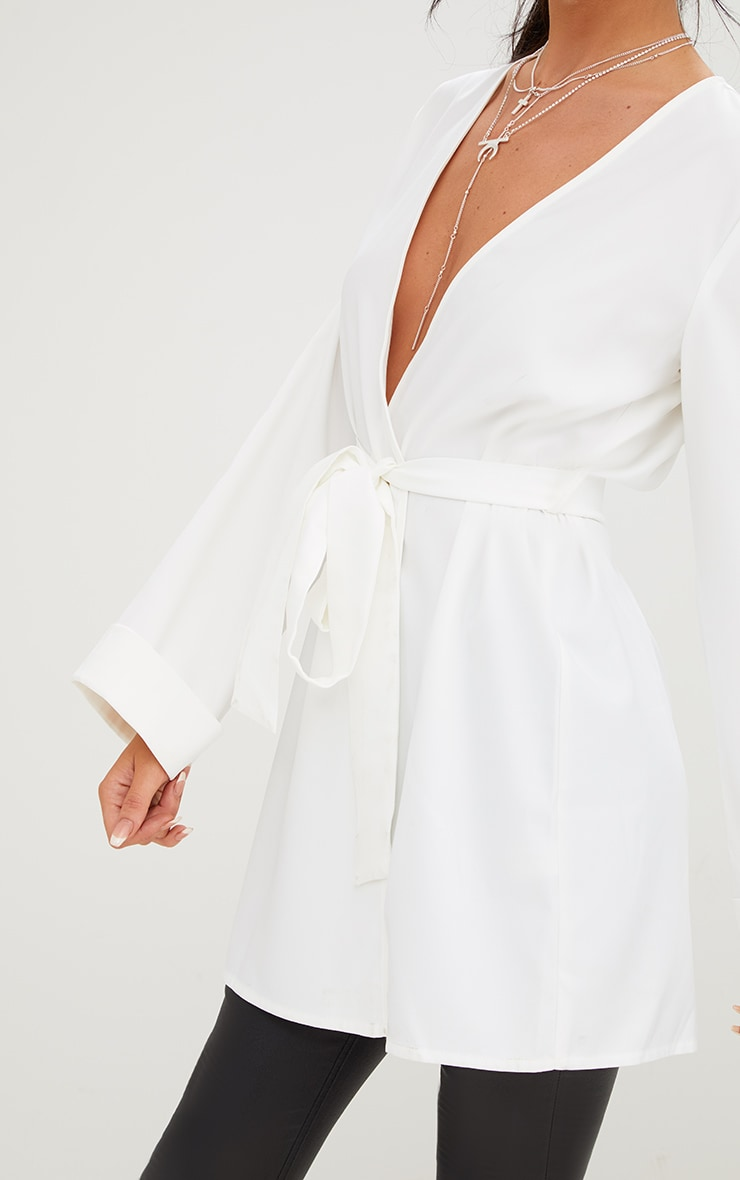 White Oversized Longline Blazer 5