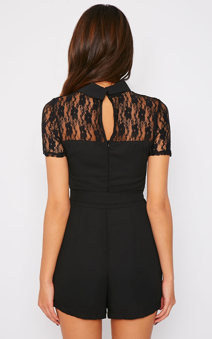 Gabby Black Lace Panel Collar Playsuit  2