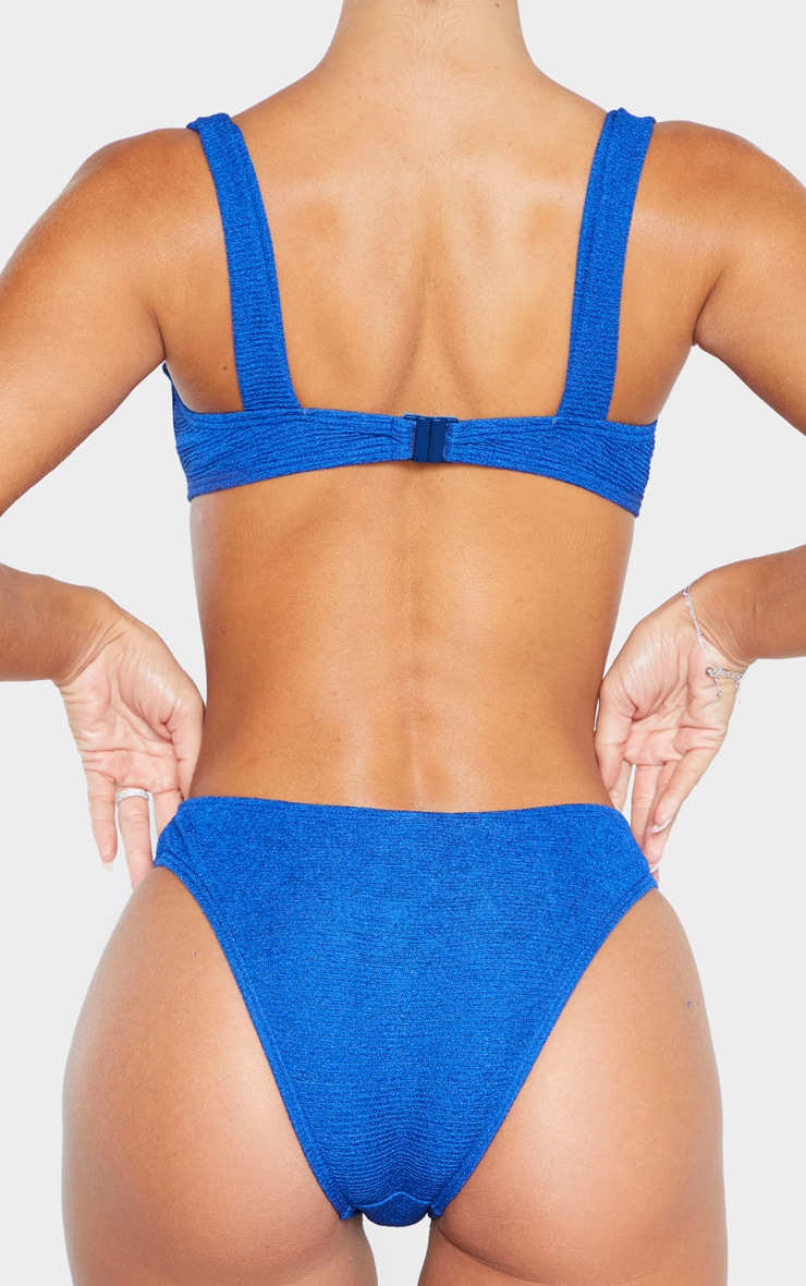 Blue Mini Crinkle Cheeky Bum Bikini Bottom 3