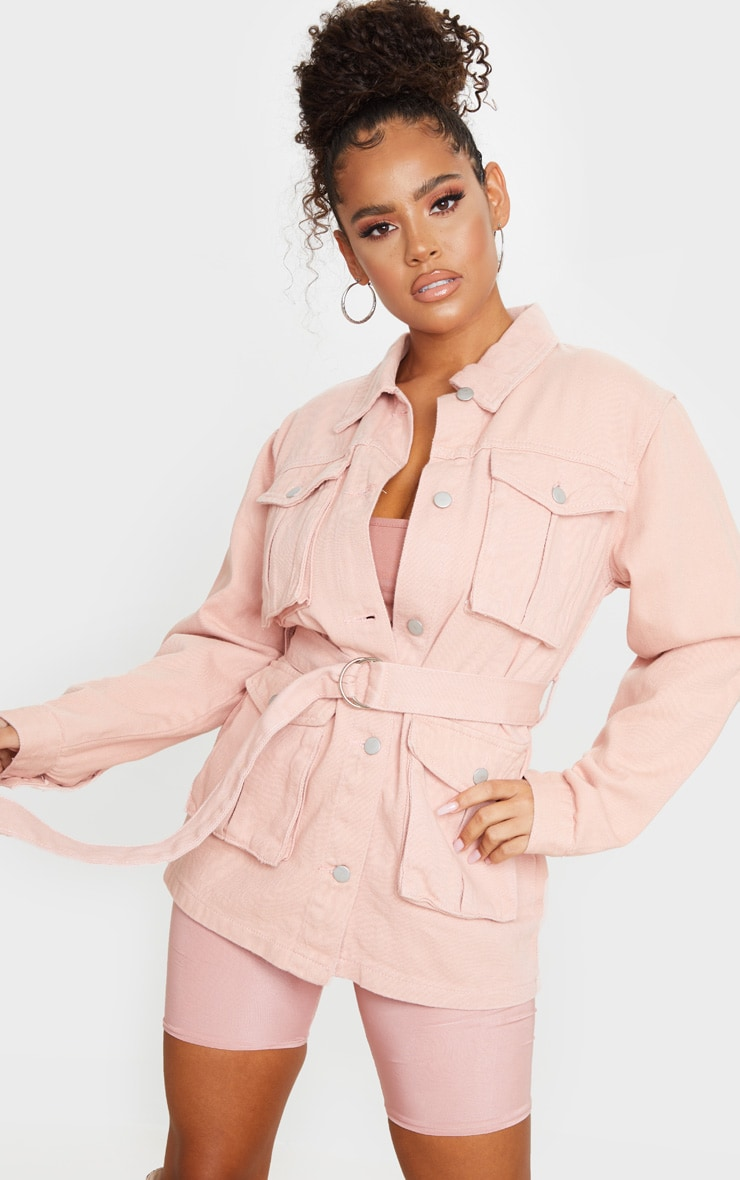 Peach Belted Cargo Denim Jacket 1