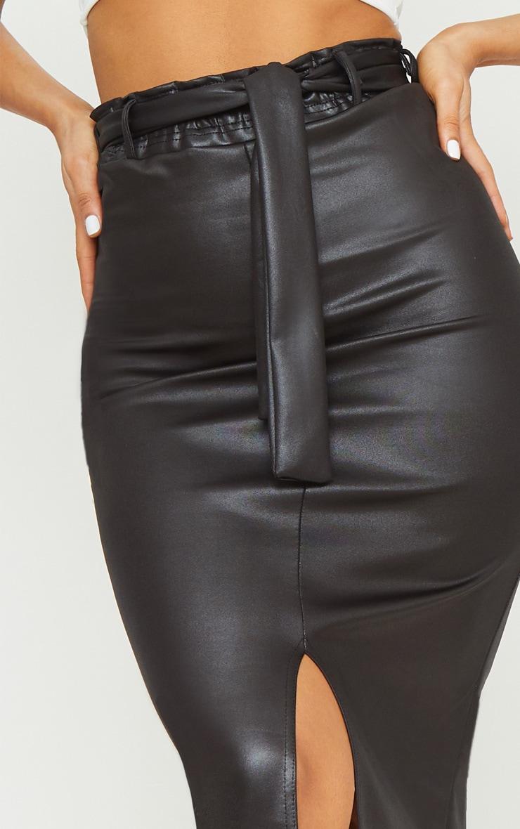 Black Coated Tie Waist Midi Skirt 5