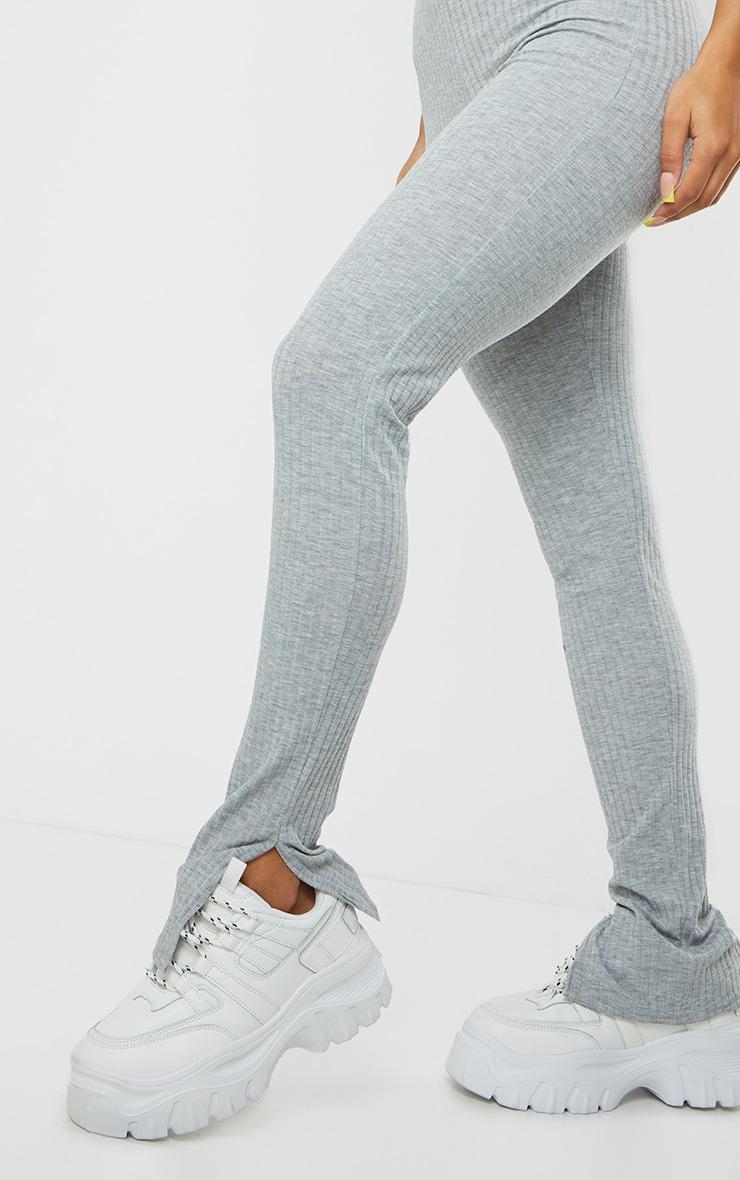 Grey Marl V Detail Short Sleeve Jumpsuit 4