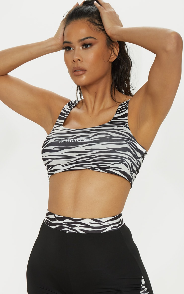 PRETTYLITTLETHING Zebra Gym Crop Top 1