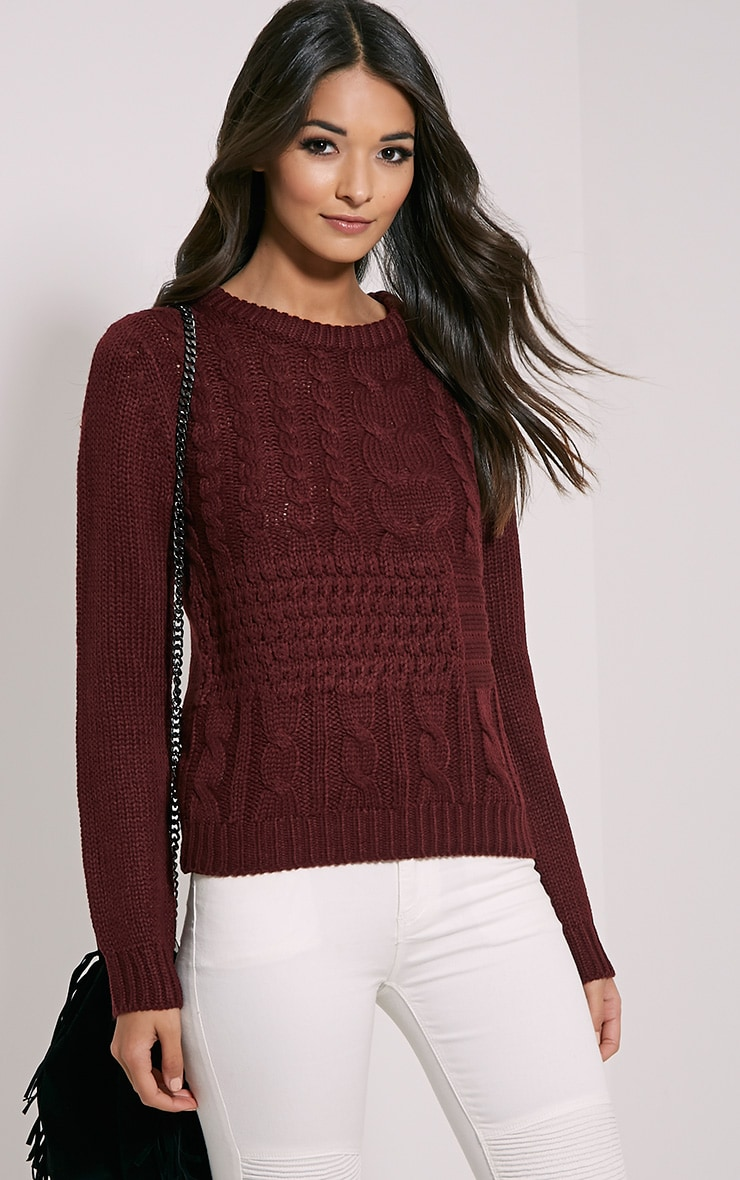 Jaslene Burgundy Cable Knit Jumper 1