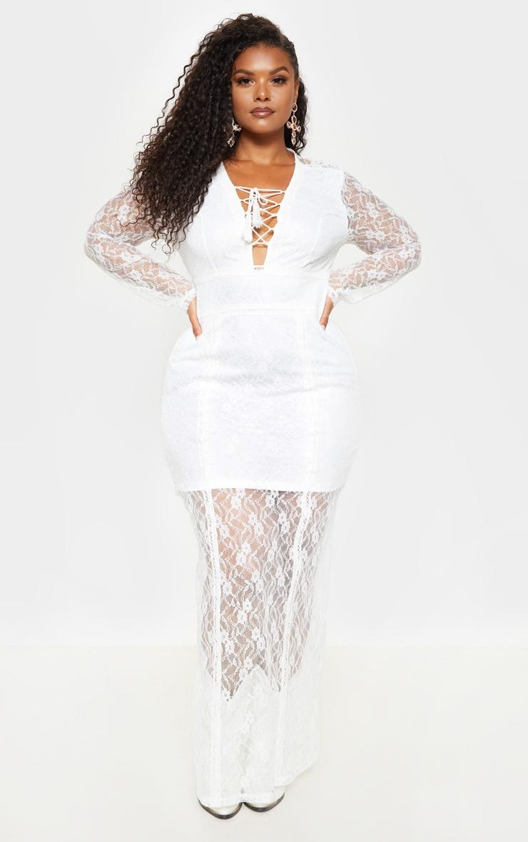 Plus White Lace Boho Lace Up Maxi Dress 3