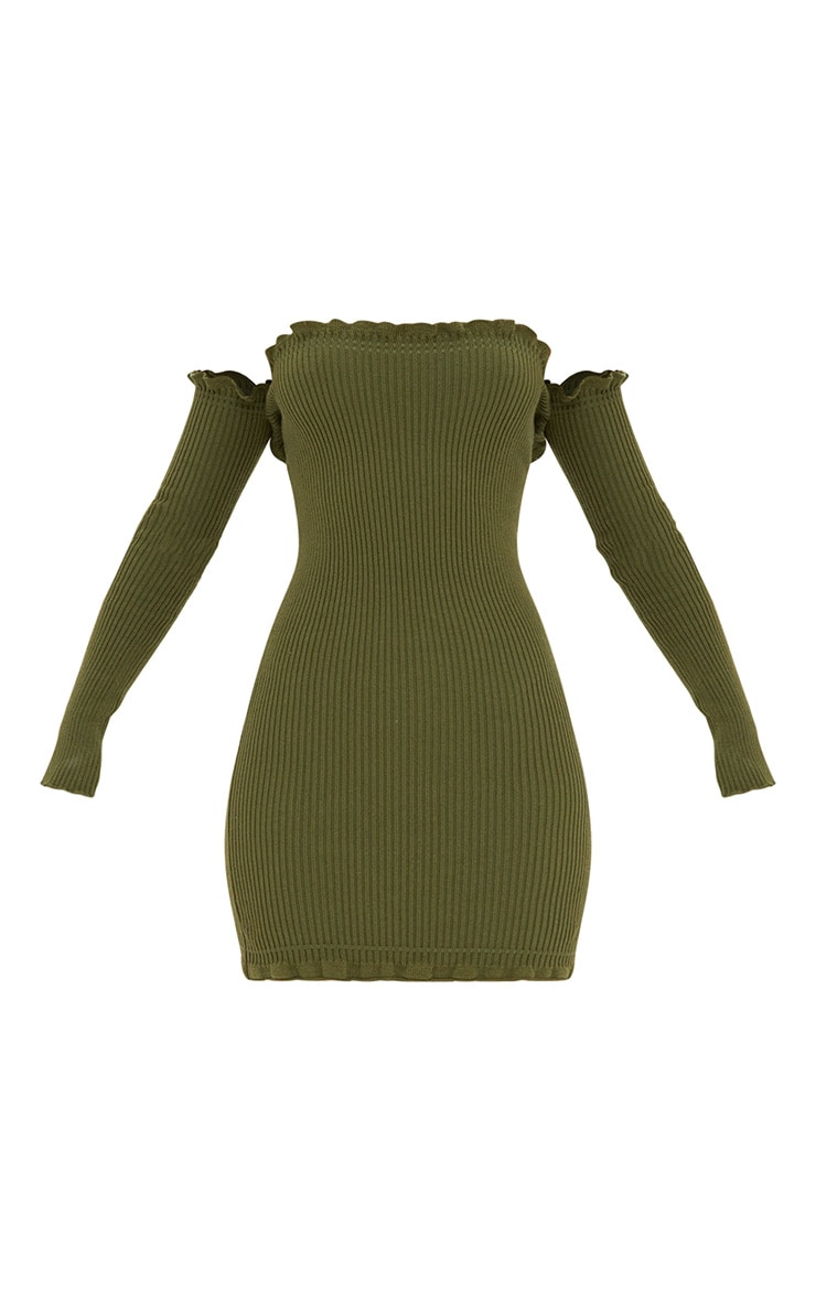 Khaki Ruffle Detail Knit Bardot Long Sleeve Mini Dress 3