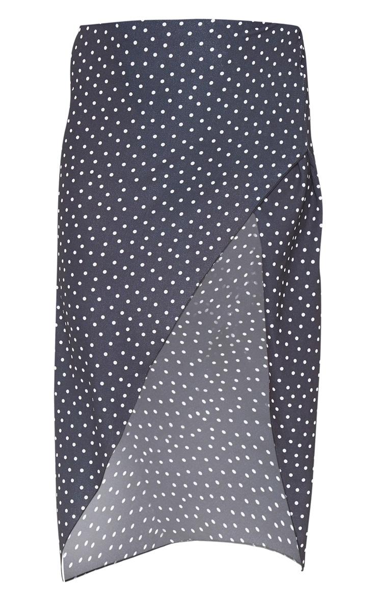 Tall Black Polkadot Wrap Pencil Skirt  3