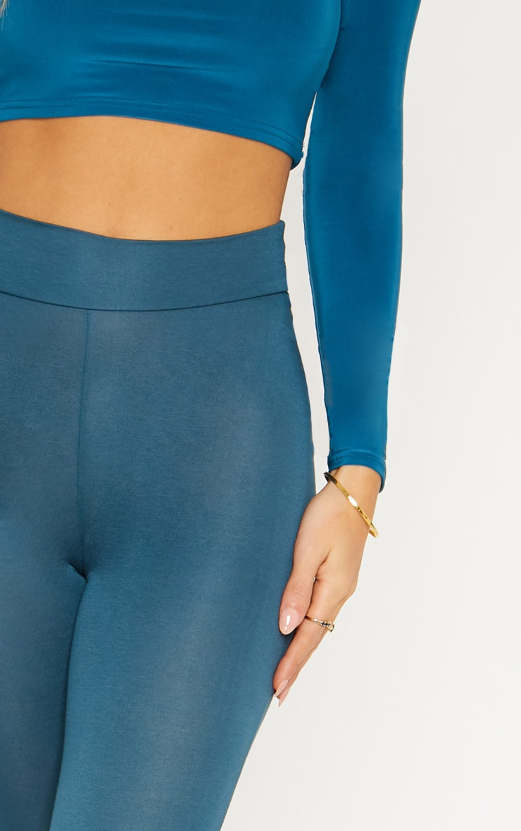 Dark Teal High Waisted Jersey Leggings 5