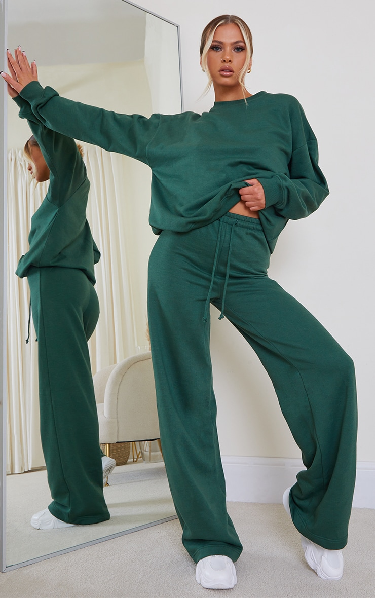 Forest Green Wide Leg Joggers 1