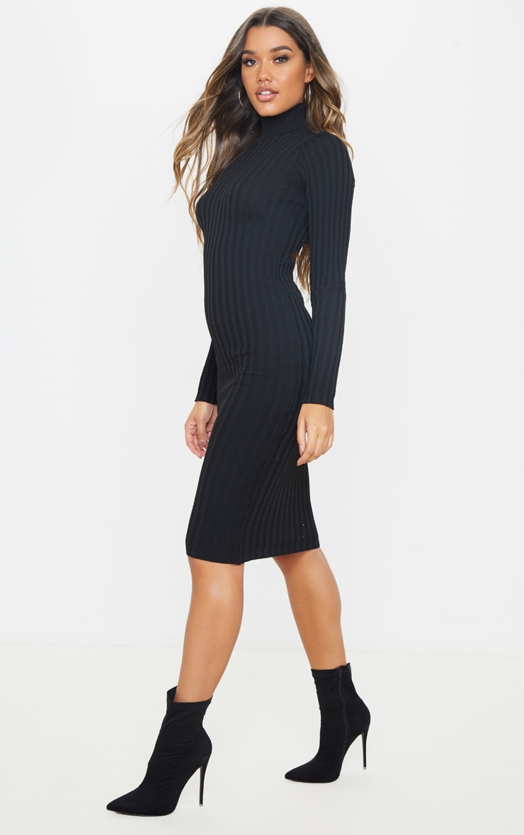 Black Stretch Knitted Bodycon Midi Dress 4