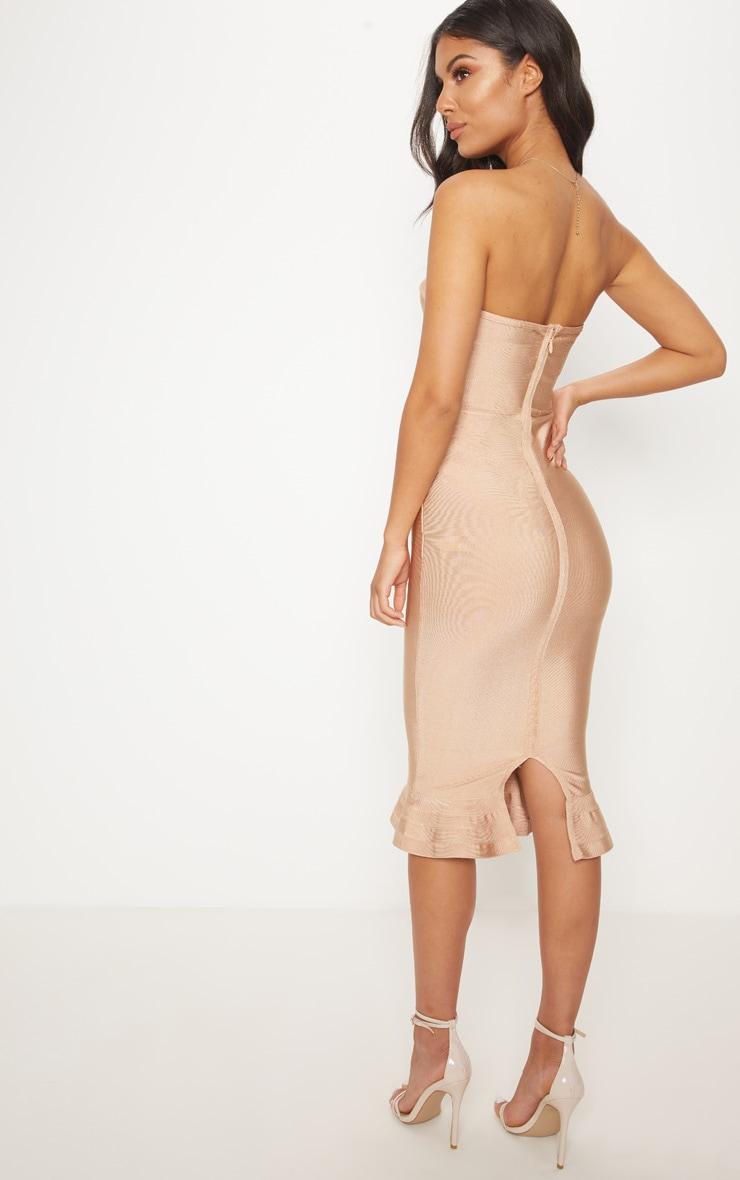 Camel Frill Hem Bandage Midi Dress 2