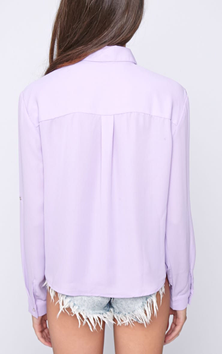 Arya Lilac Cropped Pearl Button Blouse 2