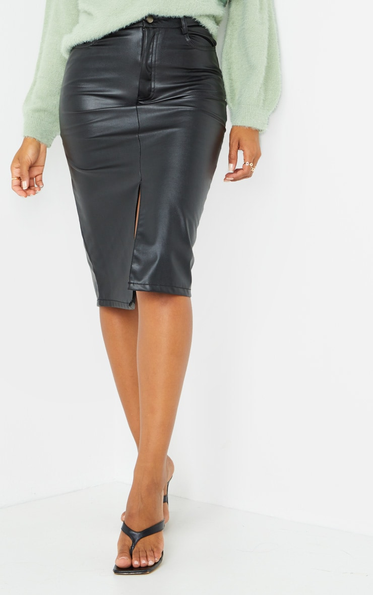 Black Faux Leather Split Hem Midi Skirt 2