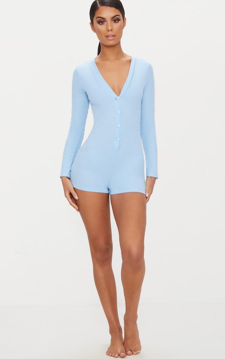 Pyjashort côtelé bleu ciel à boutons devant 4