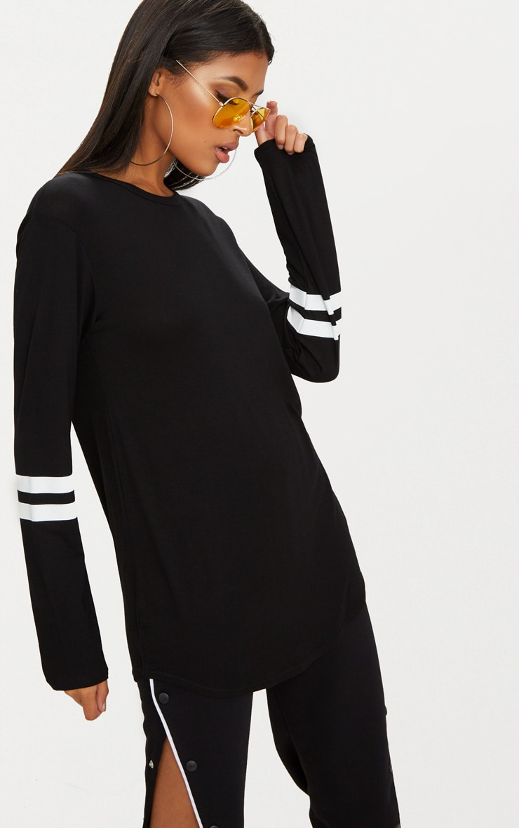 Basic Black Sport Stripe Sleeve Long Sleeve Top 1