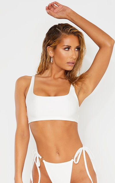 White Scoop Neck Longline Bikini Top 8c0030ad55