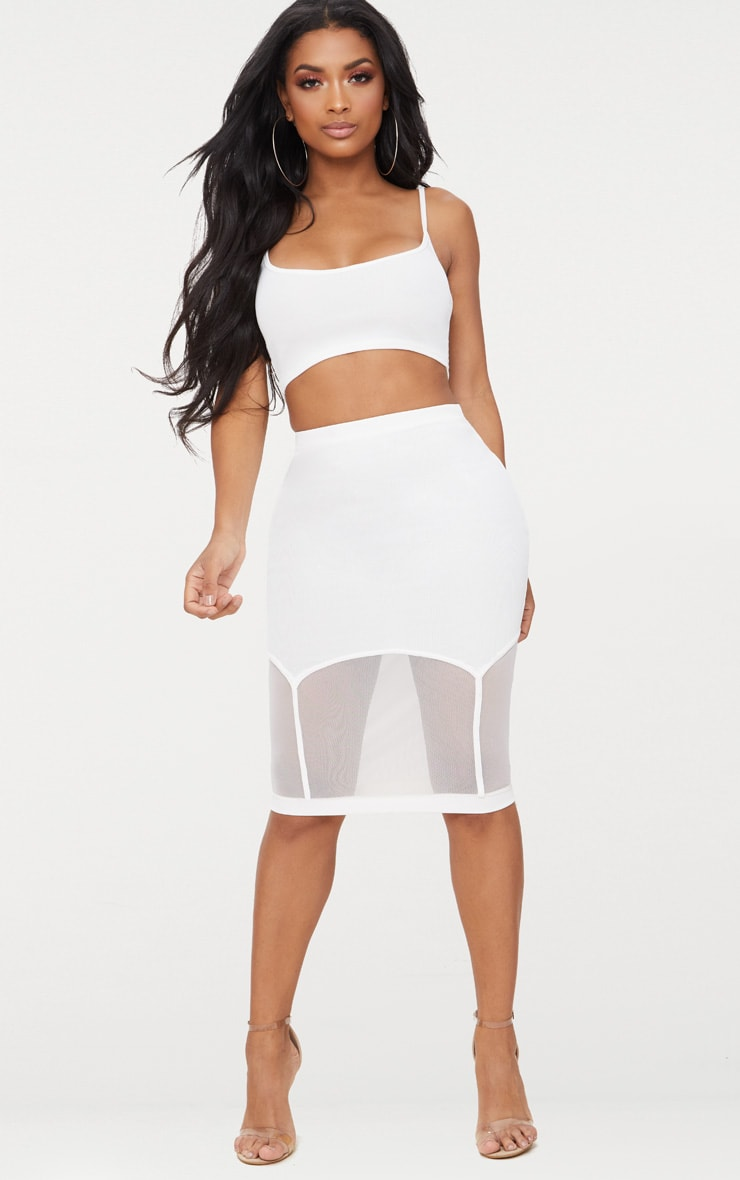 Shape White Ribbed Bandage Strappy Crop Top 4