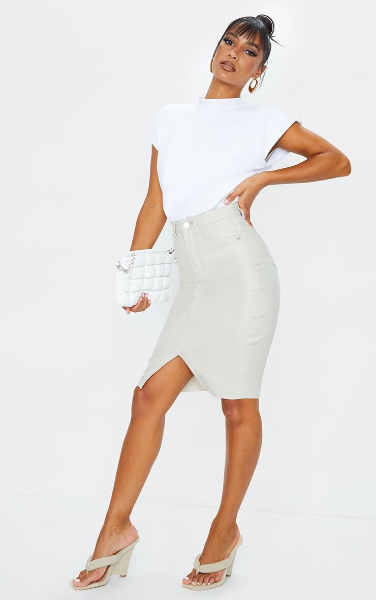 Stone Coated Denim Midi Skirt 4