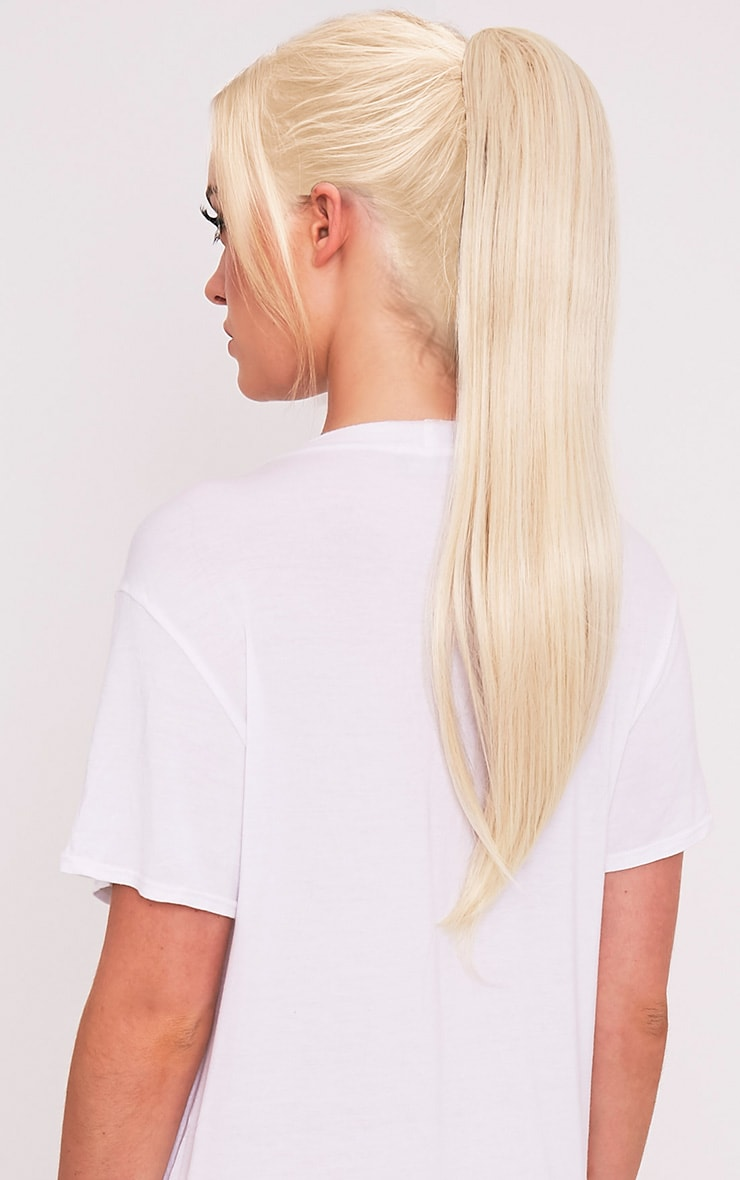 Light Blonde Clip In Straight Ponytail 1